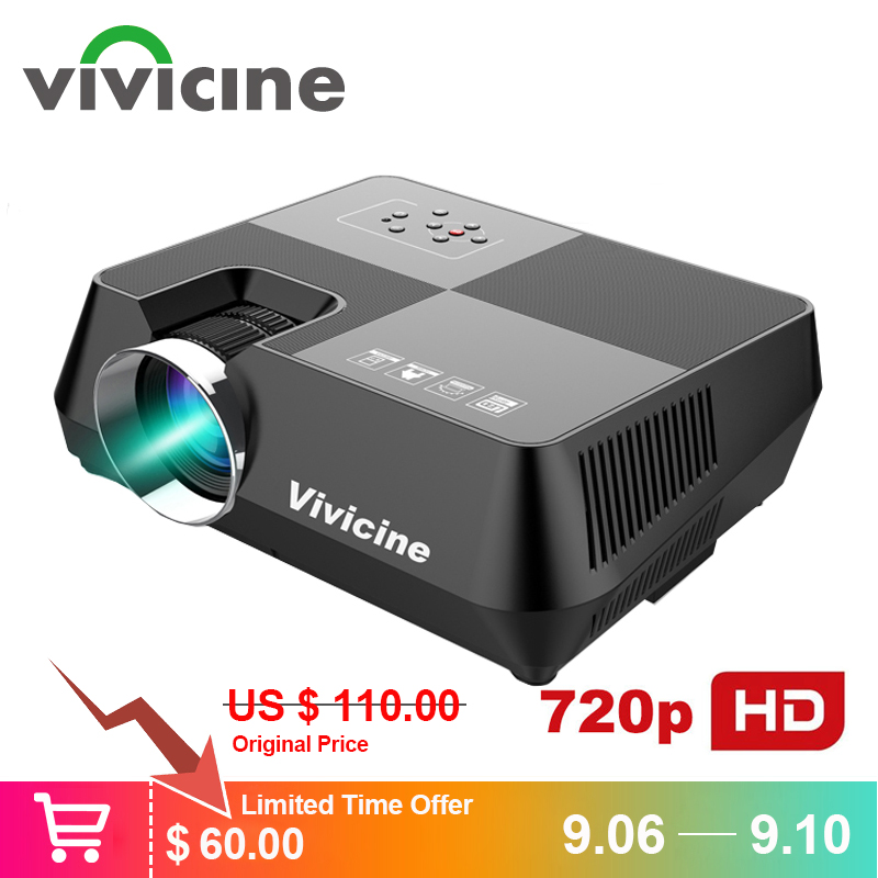 Vivicine 720P HD Projetor, opcional Android Bluetooth WI-FI HDMI USB PC Mini LED Projetor Portátil Projetor para jogos de Vídeo do Filme