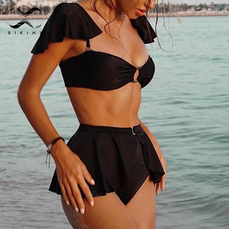 High Waist Bikinis 2020 Mujer Off Shoulder Swimwear Female Push Up Bathing Suit Sexy Black Swimsuit Women Ruffled Vintage Bikini