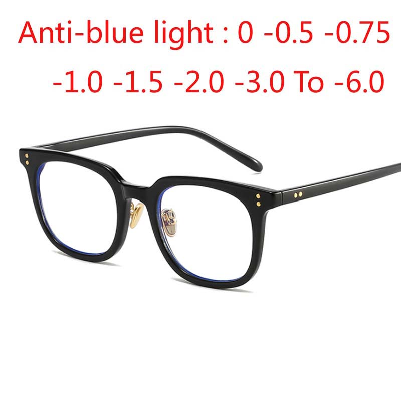 Unisex Square Eyewear Male Female Round Dot Vintage Anti Blue Light Glasses Women Eyes Men Retro Eyeglass -0.5 -1.0 -1.5 To -6.0