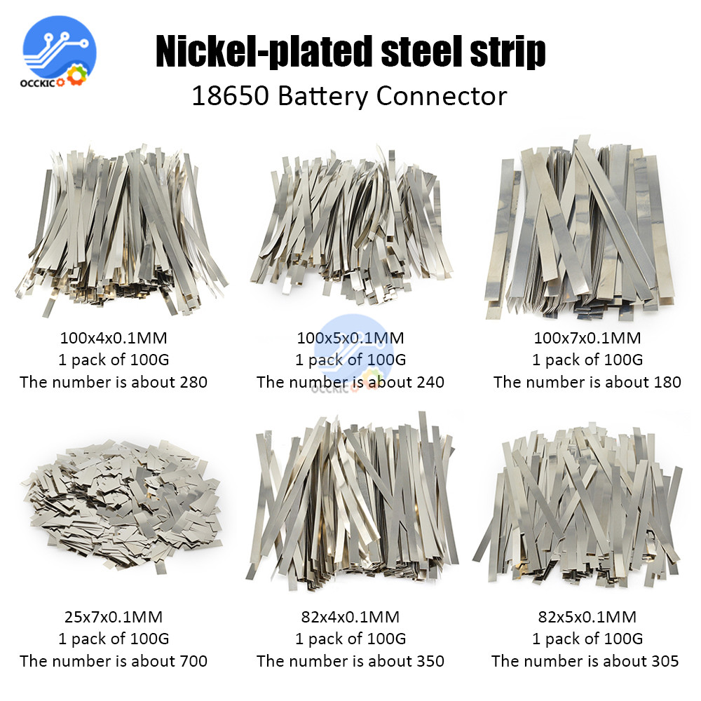 BMS 18650 Li-ion Battery Nickel Sheet Plate Nickel Plated Steel Belt Strip 0.1MM 18650 Cells Connector Welding