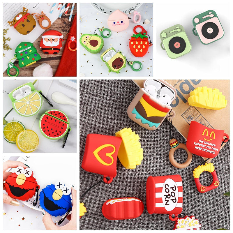 For Apple Air Pod 1 2 Case Cartoon Protective Cover Avocado Bluetooth Earphone Silicone Cases For Airpods Hamburger Cute Shell