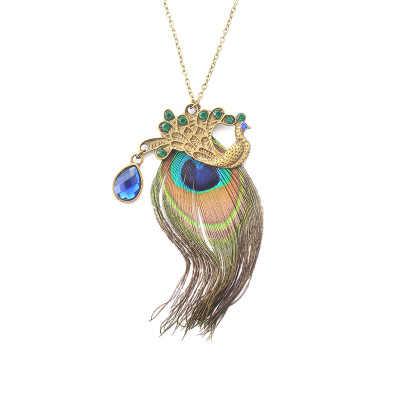 Zyzq BoHo Enthic Warna Warni Peacock Sweater Kalung untuk Wanita Musim Dingin Aksesoris Perhiasan Grosir Banyak dan Massal Aksesoris