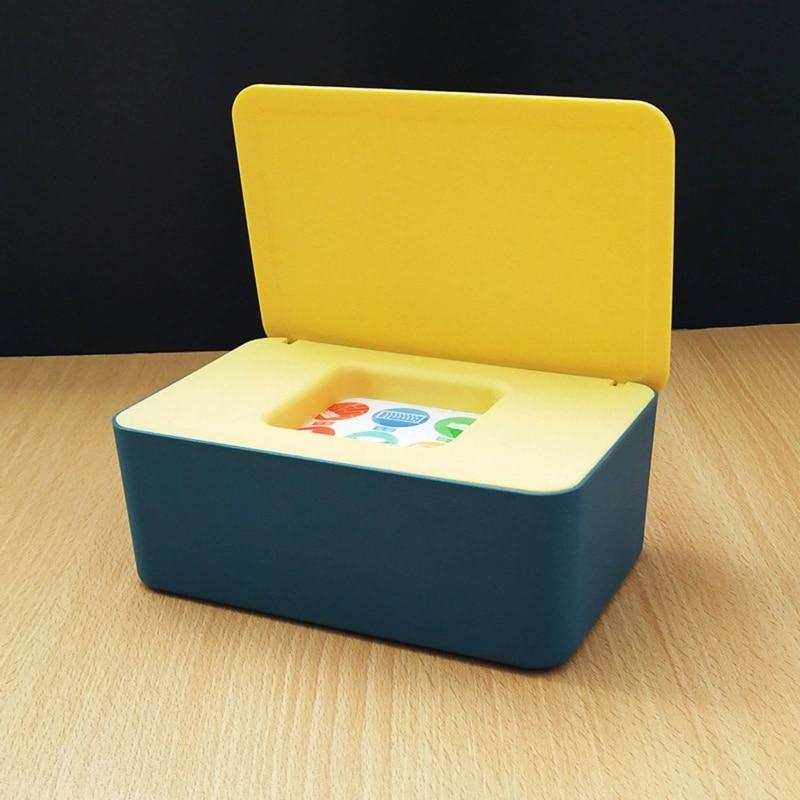 Tissue Box Storage Case Baby Wet Wipe Dispenser Flip Cover Dustproof Storage Box 53CB