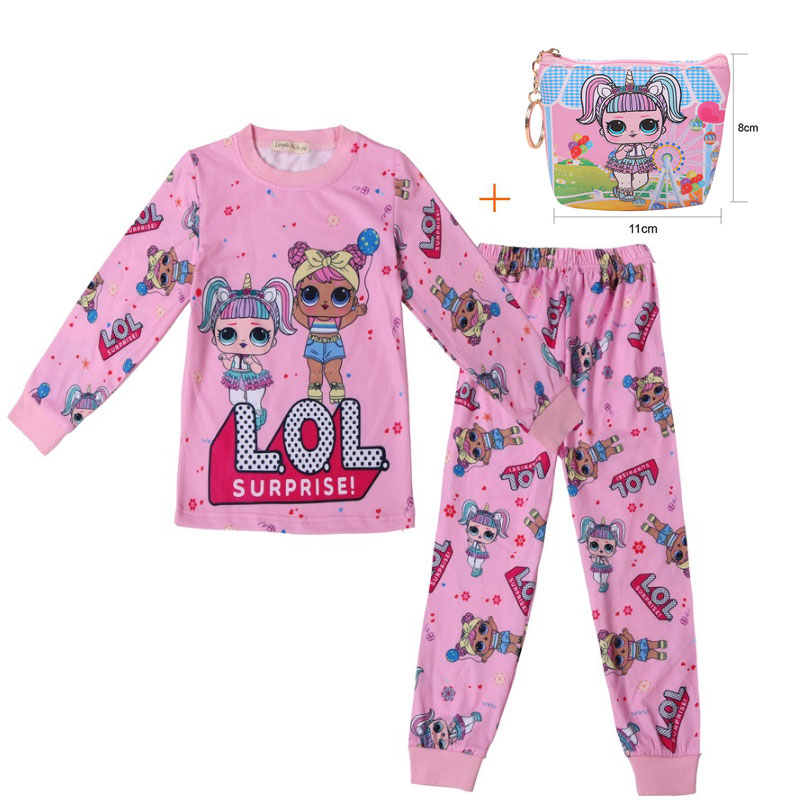 Surprise Girl Doll LOl Set 2019 New Cartoon Baby Autumn Clothes Long Pants Pajamas Set + Bag 2 Sets
