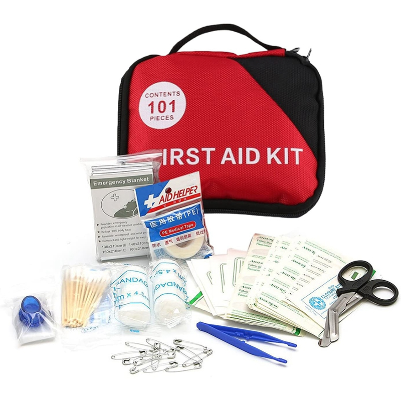 101 PCS Portable Emergency First Aid Kit Including Cotton Swab Scissors Emergency Bandages Must Have For Home Hiking