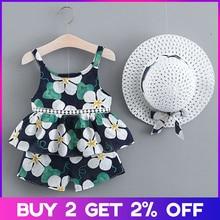 Cute Girls Clothing Sets Summer Casual Print Kids Sleeveless Chiffon T-shirt Shorts 2PCS New Children Suit