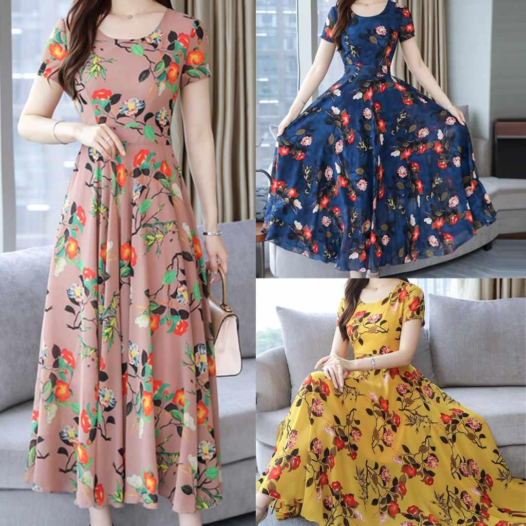 2019 夏の女性の花柄ファッショングレース O ネック半袖ビーチ印刷女性マキシドレスエレガントなサイズ 3Xl