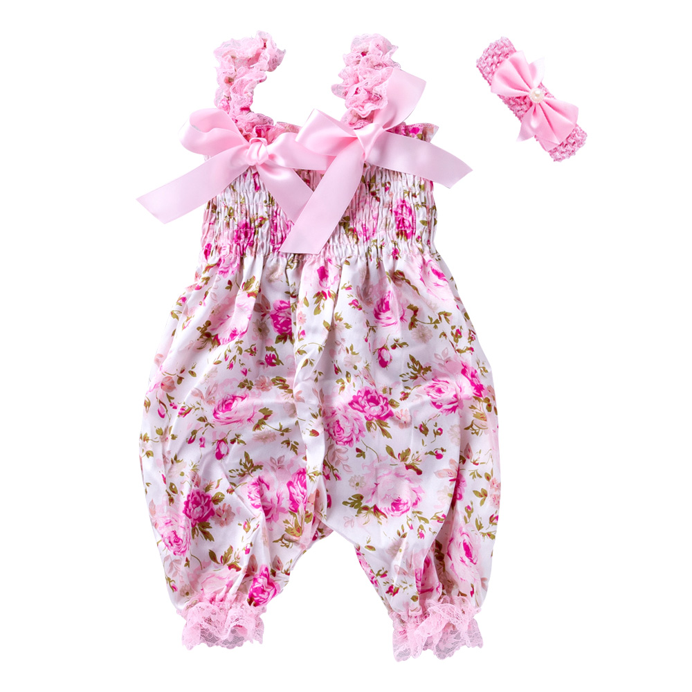 New Girls Summer Backless Romper Baby Lace-up Bloomer Jumpsuit Infant Flower Print Polyester Newborn Photography Costumes Props