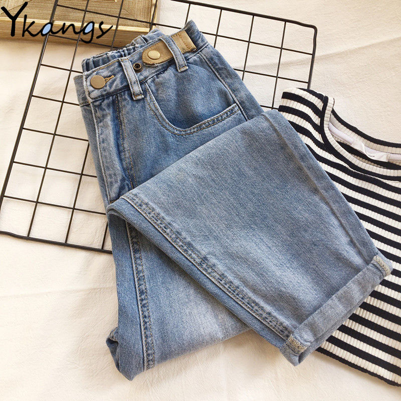 Women Streetwear Elastic Waist Mom Jeans High Waist Loose Slouchy Jeans Pockets Boyfriend Pants Casual Ladies Denim Trousers