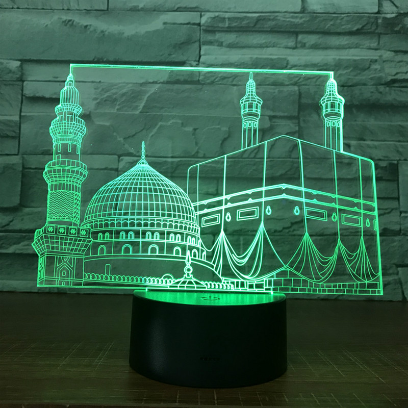 Palace 3D Night Light Remote Control Touch Colorful Conversion Table Lamp USB Powered Nightlight For Kids Holiday Novelty Gift