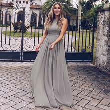 New Woman Dress Elegant Evening Robe Longue A Line O Neck Beaded Lace Party Dresses Floor Length Long Chiffon Formal Dress 2020