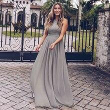 חדש אישה שמלה אלגנטית ערב Robe לונג קו O צוואר חרוזים תחרה באורך רצפת שמלות ארוך שיפון פורמליות שמלת 2020