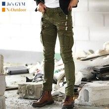 Уличные мужские тактические мотоциклетные брюки, тонкие Стрейчевые джинсы с несколькими карманами, повседневные военные альпинистские походные джинсовые прямые брюки