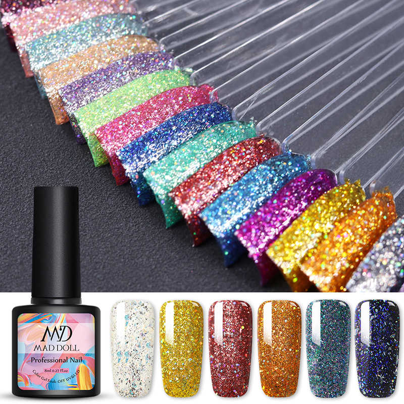 Gila Boneka 8 Ml Gel Nail Polish Glitter Gel Hologram Warna-warni ONE-Shot Rendam Off Uv Gel Varnish Panjang tahan Lama Desain Nail Art Gel