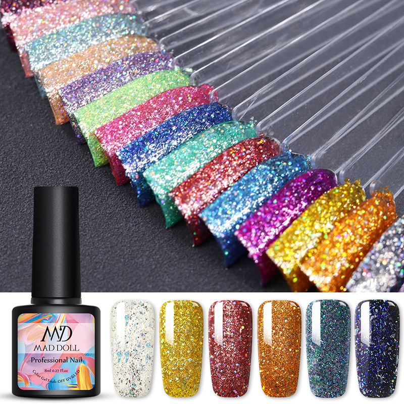 MAD DOLL 8ml Gel Nail Polish Glitter Gel  Colorful One-shot Soak Off UV Gel Varnish Long Lasting Nail Art Design Gel