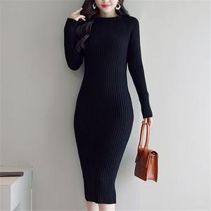 Image 4 - Sweater Dress Women Korean Fashion Woman Knit Dresses Winter Woman Cardigan Bodycon Dress Elegant Women Sweaters Dresses Vestido