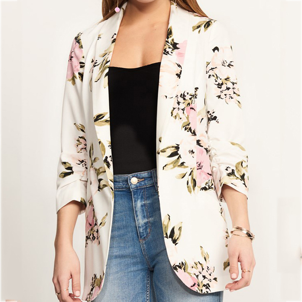 2020 New Office Women's Printed White Suit Women's Basic Autumn Jacket Formal Women's Suit Casual Coat Women's Coat Women's Coat