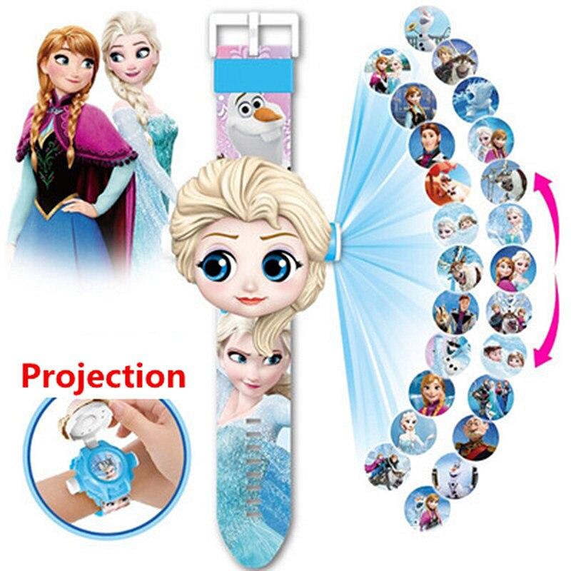 2020 NEW Princess Elsa Spiderman Children Watches Kids 3D Projection Cartoon Pattern Girls Watch Child Boys Digital Wristwatches