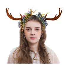Unisex Antlers Headband Deer Party Cosplay Hats For Easter Christmas Unique Funny Sweet Girl Flower Hair Band Elegant Ornament(China)