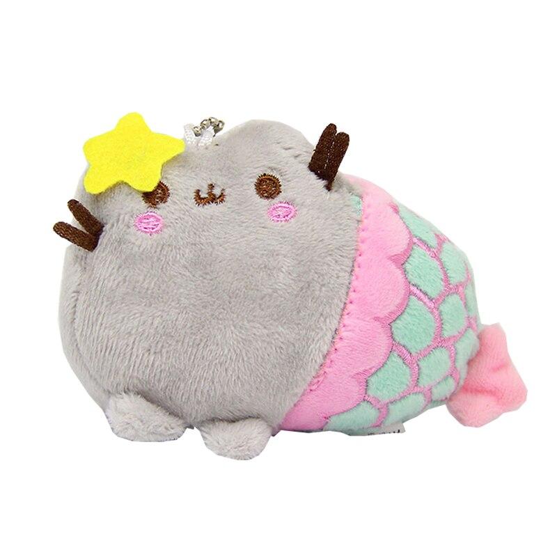 10CM Mermaid Pusheen Plush Toys Cute Rainbow Cat Stuffed Animals Bags Keys Pendants Toy