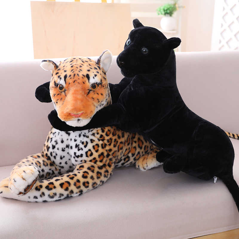 30-120cm géant noir léopard panthère en peluche jouets doux en peluche oreiller Animal poupée jaune blanc tigre jouets pour enfants cadeau