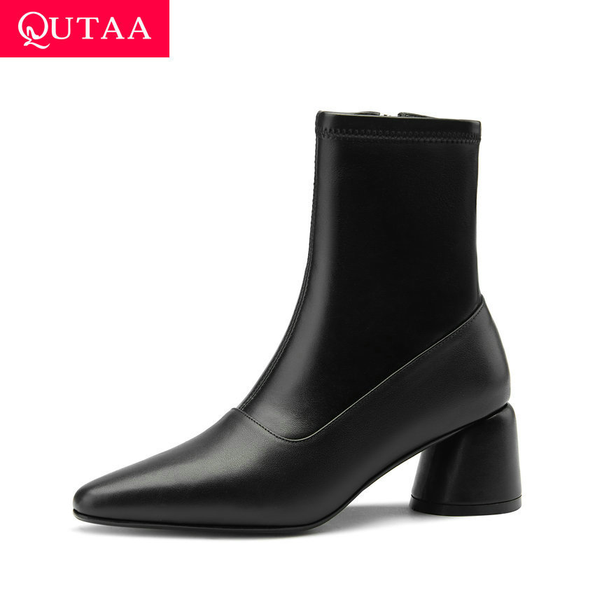 QUTAA 2021 Pointed Toe Zipper Autumn Winter Ankle Boots Cow Leather Kid Suede Short Boots Square High Heel Women Shoes Size34-39