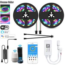5M-10M 12V SMD2811 RGB Full Color Dream Color LED Strip Lights Chasing Wifi Smart APP Voice SP501E Control Power Kit For Alexa