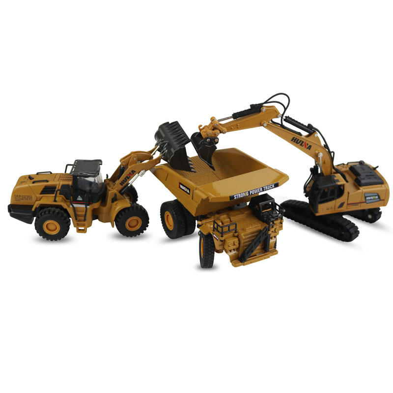 Huina Model 1:60 Scale Alloy Excavator Dump Truck Wheel Loader Engineering Vehicle Diecast Toy Christmas New Year Gifts