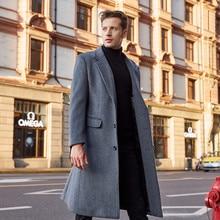Men's Wool Coat Autumn Winter 2019 New Business Casual Wool Coat Single BreastedLong Trench Woolen Overcoat Over Knee Tweed Coat