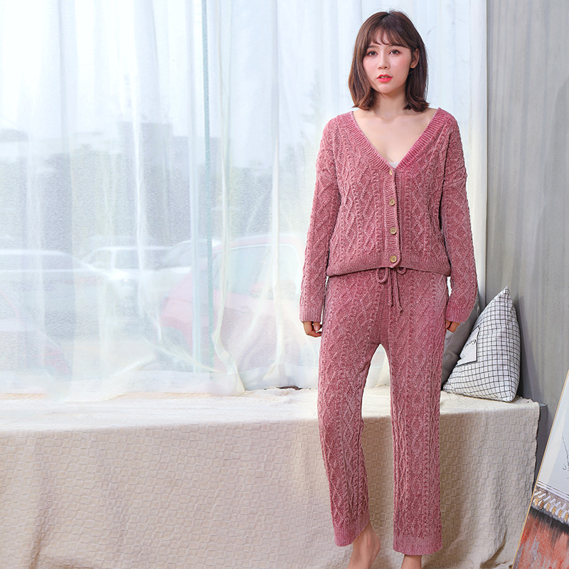2018 Autumn And Winter New Style Fashion Pajamas Retro Pattern Cardigan Comfortable Soft Breathable Stripes Pajamas
