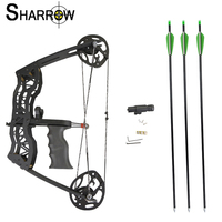 1set 40lbs Archery 100 Meter Shooting Range Metal Compound Wheel Compound Bow With 3 Arrows 1Bow Sight Hand Grip Hunting Bow
