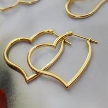 MADALENA – boucles d'oreilles SARARA en or pur 18k, boucles d'oreilles en forme de cercle de cœur, Style Simple pour femmes