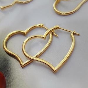 MADALENA SARARA Pure 18k Gold Earrings Heart Circle Simple Style Women Dangle Earrings
