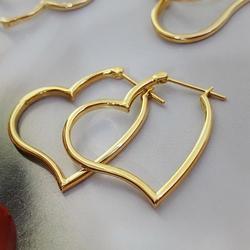 Madalena Sarara Pure 18 K Gouden Oorbellen Hart Cirkel Eenvoudige Stijl Vrouwen Dangle Oorbellen