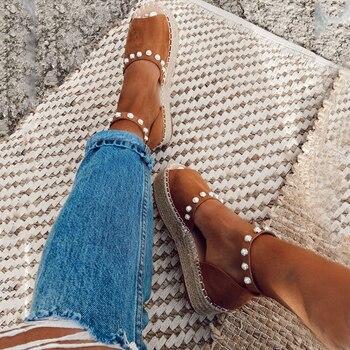 2020 Summer Women Sweet Pearl Platform Wedges Sandals Comfort Fish Mouth Weave Causal High Heels Open Toe Chaussures platform open toe heeled wedges