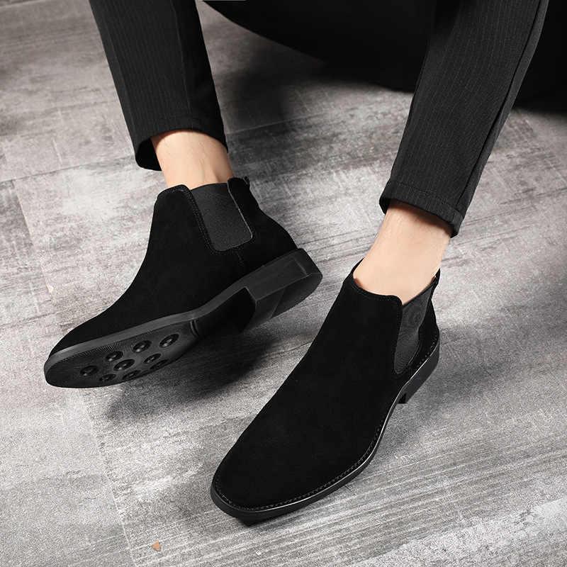 Automne hiver Chelsea bottes hommes vache daim véritable cuir bottines hommes chaussures avec fourrure chaud luxe Vintage classique mâle botte