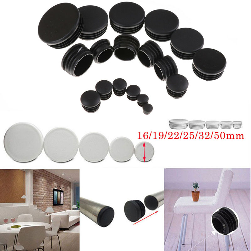 80pcs Round Plastic White Black Blanking End Cap Caps Tube Pipe Inserts Plug Bung For Furniture Chair Table Steel Leg Protector