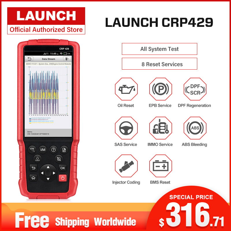 Launch CRP429 Car Diagnostic Tool Auto Scanner All System Diagnostics Scan Automotive Diagnosis IMMO DPF EPB PK MK808 CRP429C-in Engine Analyzer from Automobiles & Motorcycles    1