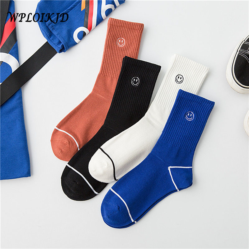 Autumn/Winter Casual Embroidery Smiling Face Socks Streets Trend Couples Funny Sox Japanese Harajuku Style Best Gift Socks
