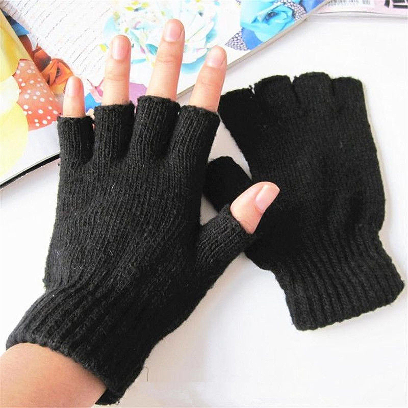 Hot Women Men Black Knitted Gloves Stretch Elastic Warm Half Finger Winter Fingerless Gloves