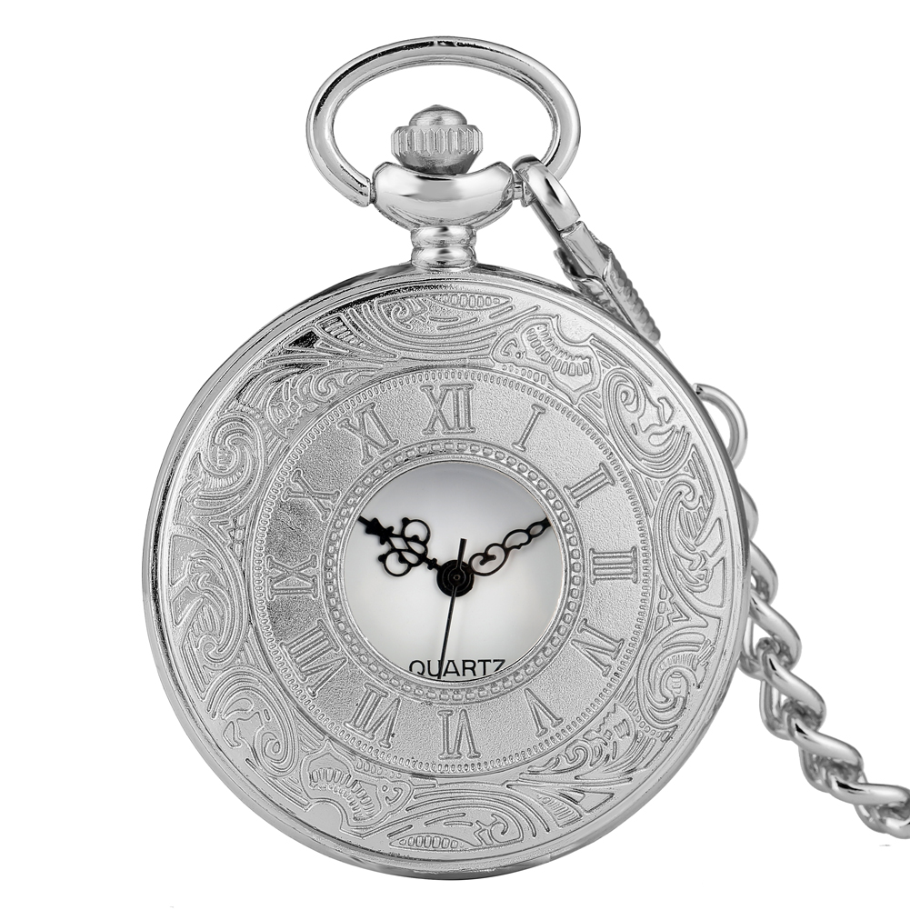 Silver Cover Pocket Watch Classic Half-hollow With Roman Numerals Case Pocket Watches Alloy Slim Chain Pendant Watch
