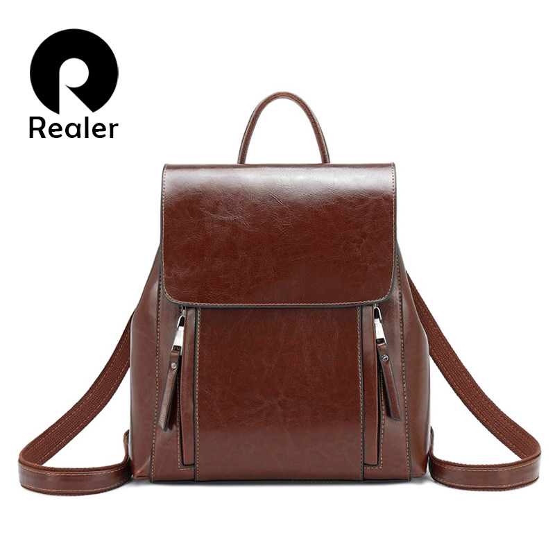 REALER Retro Women Backpack School Bags For Teenager Girls Leather School Backpack For Women Large Capacity Mochila Shoulder Bag
