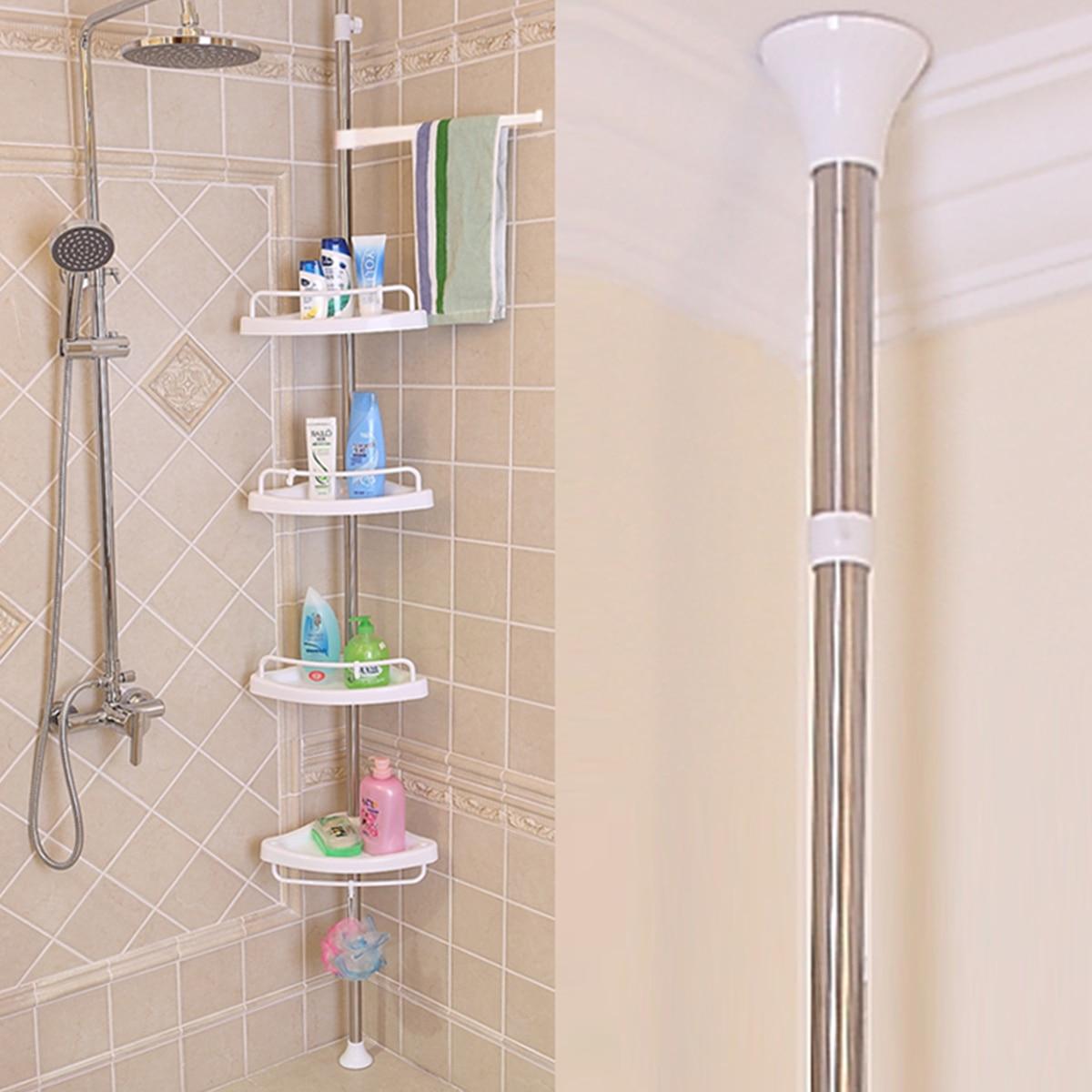 Xueqin 4 Tier Adjustable Telescopic Bathroom Corner Shower Shelf Rack Caddy Organiser Stainless Steel + PP 192-310cm White