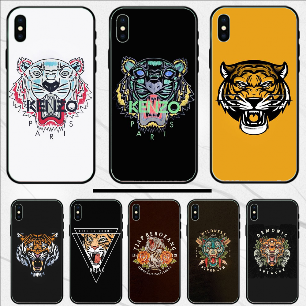 Untuk iPhone 11pro Case Mewah Tiger Head Cover Tpu Lembut Silicone Ponsel Case PENUTUP UNTUK iPhone 11 11pro 11pro Max 5 5 S SE