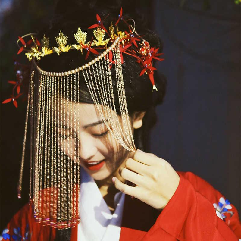Vintage Hochzeit Zubehör für Braut der Chinesischen Vorhang Gesichts Maske Handgemachte Beades Lange Quaste Braut Hochzeit Gesicht Schmuck