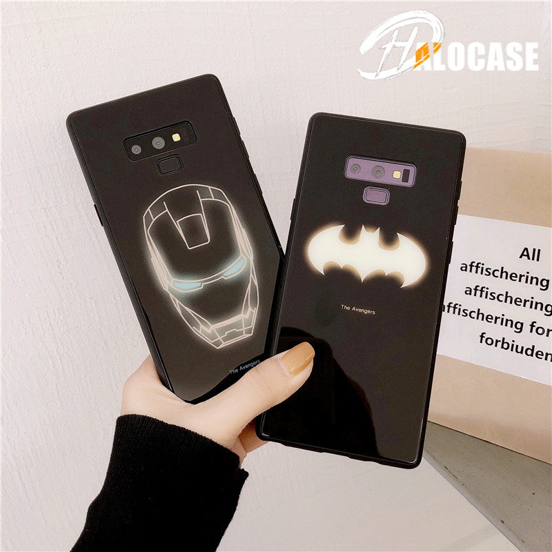 Luxury Batman Ironman Marvel Luminous Tempered Glass Case For HUAWEI P30  Mate20 Pro Cover Samsung S8 S9 S10 Plus Note 8 9