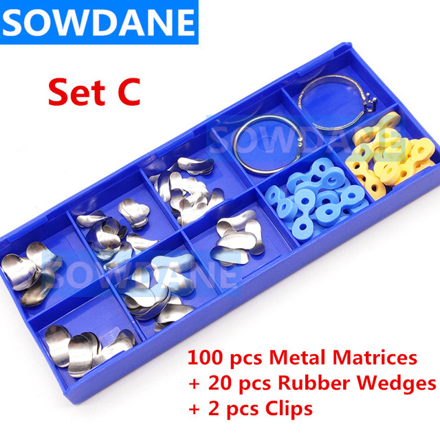 100Pcs/Set Dental Orthodontic Sectional Contoured Matrice Matrix Ring Plastic Delta Wedge Rubber Wedges Dental Ortho Material