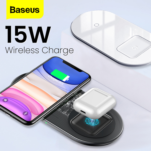 BASEUS 2 in 1 Qi Wireless ChargerสำหรับiPhone 11 PRO MAX X Airpods 15W Fast Wireless CHARGINGเหนี่ยวนำไร้สายCharger