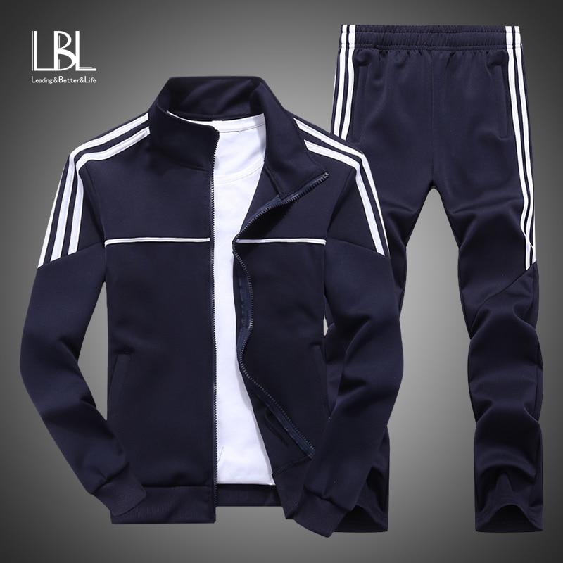 New Sportswear Men 2019 Autumn Set Mens Tracksuit Striped Zipper Sweatshirt + Sweatpants Men Casual Sporting Suits 2 Pieces Set