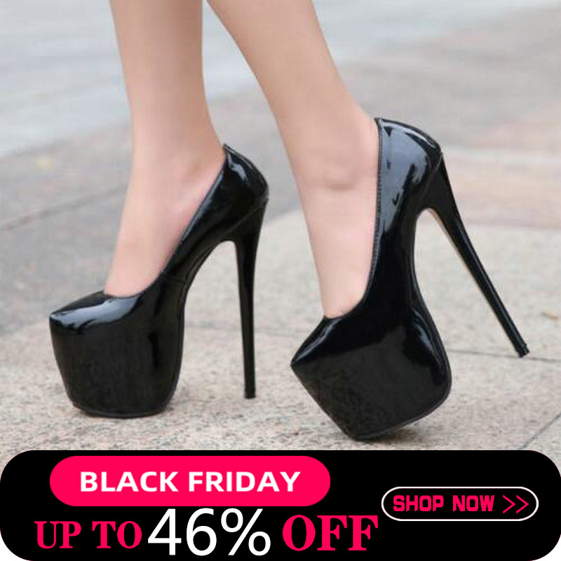 35-44 Size women Super <font><b>High</b></font> <font><b>Heels</b></font> <font><b>18cm</b></font> shoes Concise 8CM platforms shoes pumps Wedding Party <font><b>Sexy</b></font> leather shoes zapatos MC-47 image